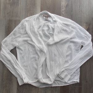 Forever 21 Contemporary Sheer White Blouse Top